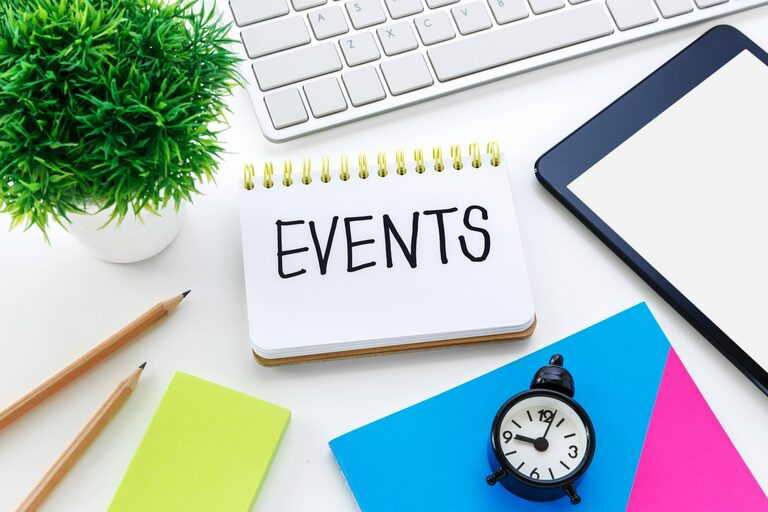 Event planning on working desk
