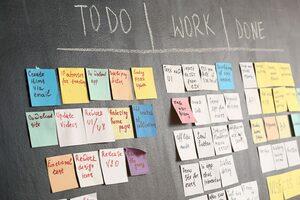 task board on dark wall in office