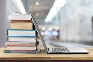 Books and Laptop Image